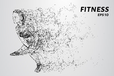 The fitness of particles. The girl is engaged in fitness consists of circles and points. Vector illustration Illustration