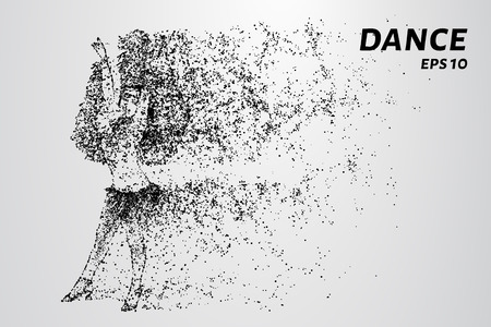 Dance of the particles. The dancer consists of circles and points. Vector illustration.