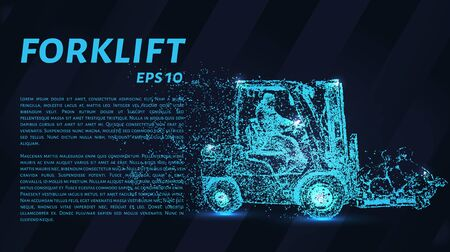 Forklift of particles. Forklift consists of circles and points. Vector illustration.