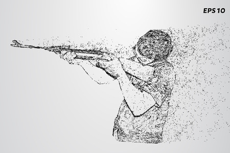 Shooting of the particles. A man fires a rifle. Vector illustration.