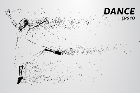 Silhouette of dancing particles. The dance consists of small circles.