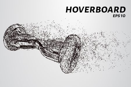 The hover board from the particles. The hover board consists of circles and points vector illustration.
