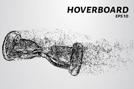 The hoverboard from the particles. The hoverboard consists of circles and points. Vector illustration