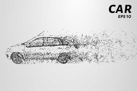 Car from the particles. The car consists of circles and points vector illustration.