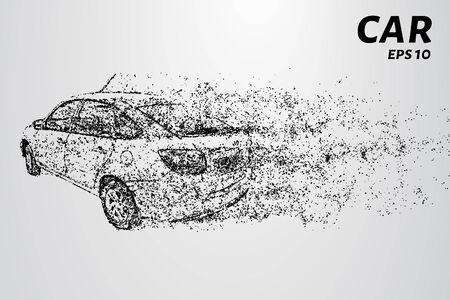 The car consists of dots and circles. Car the wind blows away particles vector illustration.
