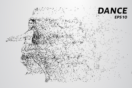 Dance of the particles. The dancer consists of circles and points. Illustration