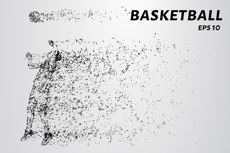 Basketball of the particles. Basketball player silhouette consists of circles and points. Illustration