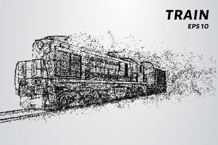 The train consists of dots and circles. Train the wind blows away particles vector illustration.