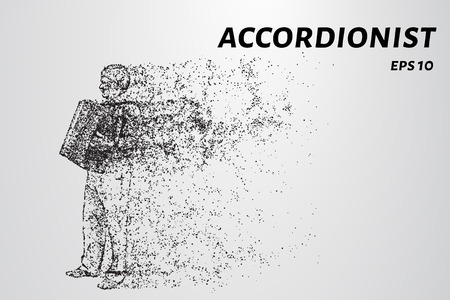 Accordion player from particles. The harmonist consists of dots and circles