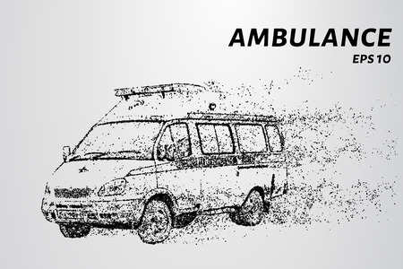 Emergency medical service. Ambulance by wind tears the particles.
