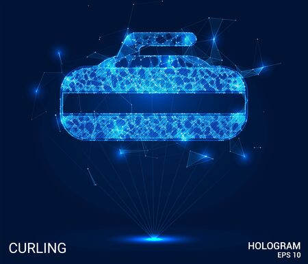 Hologram Curling. Stone for Curling polygons, triangles of points and lines. Curling low-poly joint structure. The technology concept Illustration
