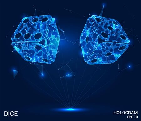 The hologram of the dice. Dice of polygons, triangles of points, and lines. Dice is a low-poly compound structure. The technology concept