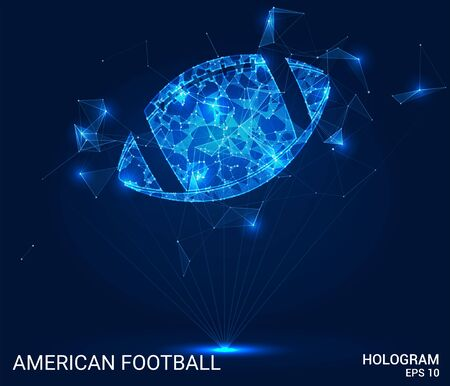 American football hologram. A football ball made of polygons, triangles, points, and lines. Football is a low-poly compound structure. The technology concept