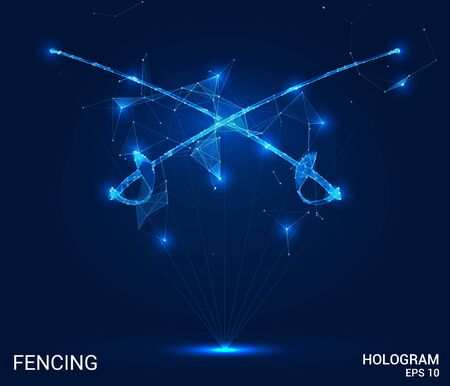 Hologram fencing. Swords for fencing from polygons, triangles of points and lines. Fencing is a low-poly compound structure. The technology concept