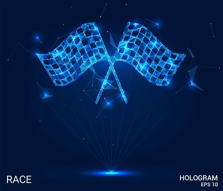 The hologram race. Race flags made up of polygons, triangles of points, and lines. Racing flags are low-poly compound structure. The technology concept