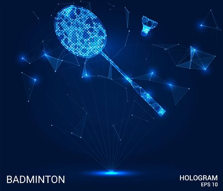Hologram of badminton. Racket and shuttlecock made of polygons, triangles of points and lines. Badminton is a low-poly compound structure. The technology concept Иллюстрация