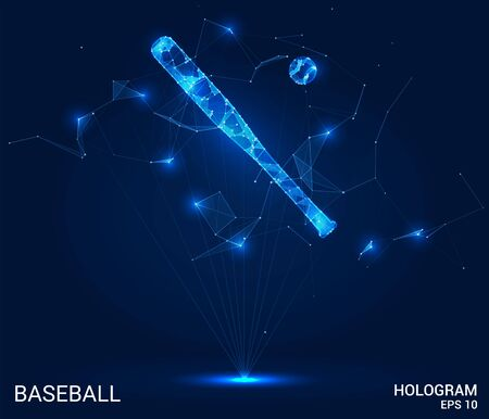 A baseball hologram. A baseball bat made of polygons, triangles of points, and lines. Baseball is a low-poly compound structure. The technology concept