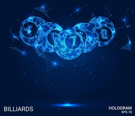 The billiard hologram. Billiard balls made of polygons, triangles of points and lines. Billiard is a low-poly connection structure. The technology concept