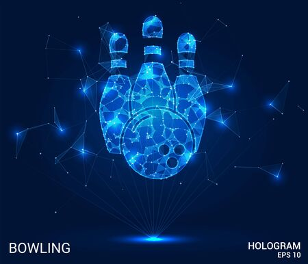 Hologram bowling. Skittles and a bowling ball made of polygons, triangles of points and lines. Bowling is a low-poly compound structure. The technology concept