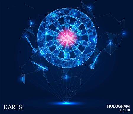 Hologram of Darts. Darts and a dartboard made of polygons, triangles of points and lines. Darts are a low-poly compound structure. The technology concept