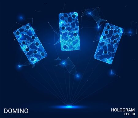 A Domino hologram. Dominoes of polygons, triangles, points, and lines. Dominoes are low-poly compound structure. The technology concept