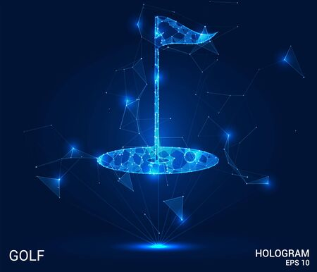 Golf hologram: a Golf Hole made up of polygons, triangles, points, and lines. Golf is a low-poly compound structure. The technology concept