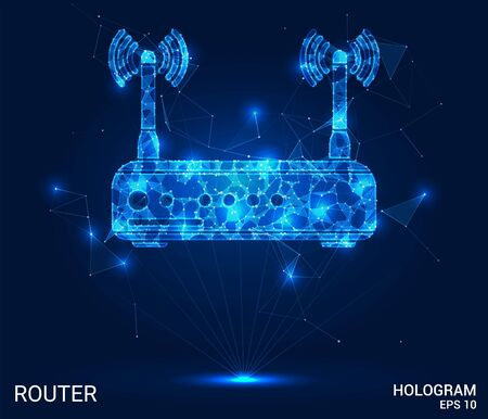 Hologram router. Wireless Internet from polygons, triangles, points and lines. The router has a low-poly connection structure. The technology concept
