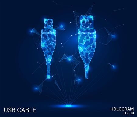 Hologram USB cable. USB cable made of polygons, triangles of points and lines. USB cable is a low-poly connection structure. The technology concept