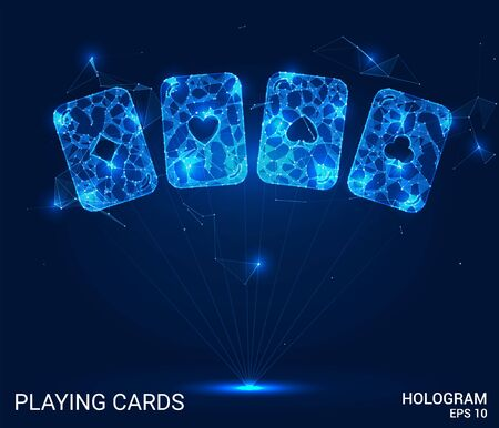 Hologram playing cards. Playing cards made of polygons, triangles, points, and lines. Casino low-poly connection structure. The technology concept