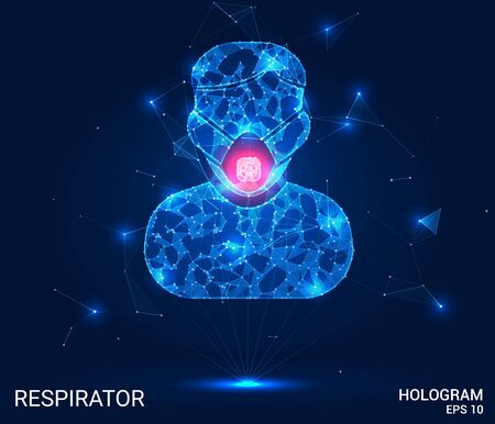 Hologram respirator. A masked silhouette of polygons, triangles, points, and lines. Medical mask is a low-poly compound structure. The technology concept