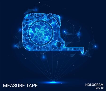 Hologram construction roulette. Measuring tape of polygons, triangles of points and lines. Measuring tape is a low-poly connection structure. The technology concept Illustration