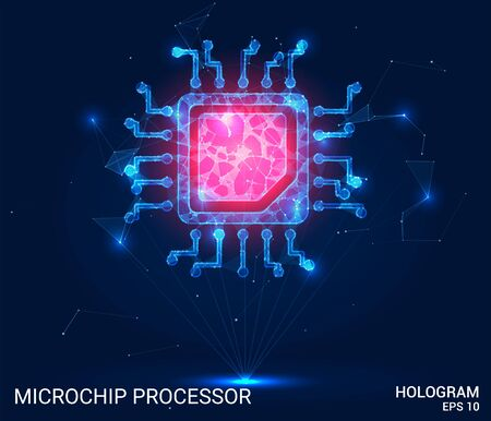 Hologram microprocessor. The processor consists of polygons, triangles, points, and lines. A microchip processes the lowpoly structure of the compound. The technology concept Illustration
