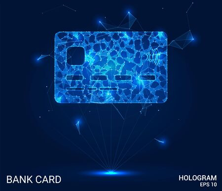 The hologram on a Bank card. A Bank card made up of polygons, triangles, points, and lines. Bank card low-poly connection structure. The technology concept