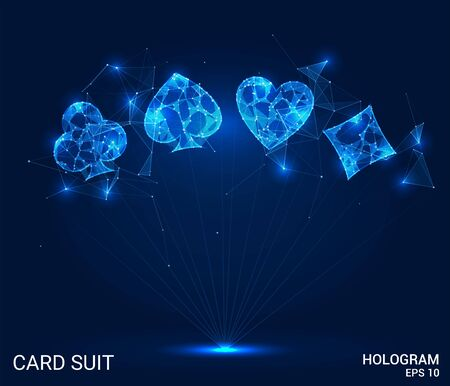 Hologram card suits. Card suits of polygons, triangles, points, and lines. Card suits are low-poly compound structure. The technology concept Illustration