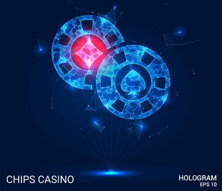 Hologram of casino chips. Casino chips consist of polygons, triangles, points, and lines. Casino chips are low-poly compound structure. The technology concept