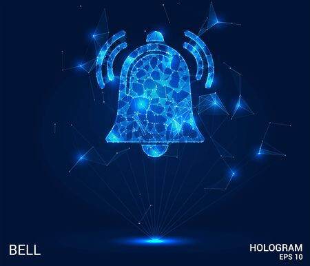 A hologram of a bell. Notifications of polygons, triangles of points, and lines. The bell is a low-poly compound structure. The technology concept