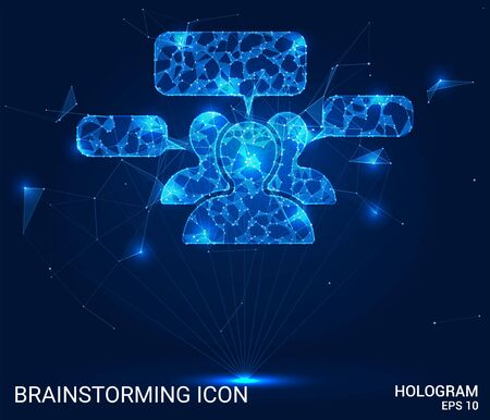 Hologram brainstorming. People speak from polygons, triangles of points and lines. Brainstorming low-poly compound structure. The technology concept