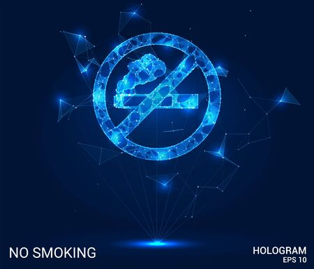 Hologram no Smoking. Do not smoke from polygons, triangles of points and lines. Smoking is prohibited low-poly compound structure. The technology concept