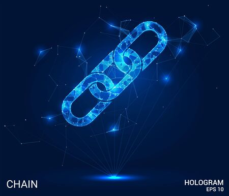 The hologram chain. A chain of polygons, triangles, points, and lines. The chain is a low-poly connection structure. The technology concept