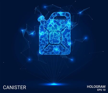The hologram canister. A canister of polygons, triangles of points, and lines. A gasoline canister is a low-poly compound structure. The technology concept