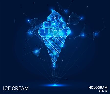 Hologram of ice cream. Ice cream consists of polygons, triangles, points, and lines. Ice cream is a low-poly compound structure. The technology concept Illustration