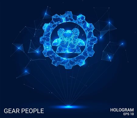 Hologram of people and gears. Engineering from polygons, triangles, points, and lines. People and gears are low-poly joint structure. The technology concept