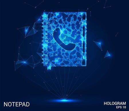 Hologram Notepad. Telephone directory of polygons, triangles of points and lines. Notepad is a low-poly connection structure. The technology concept Illustration