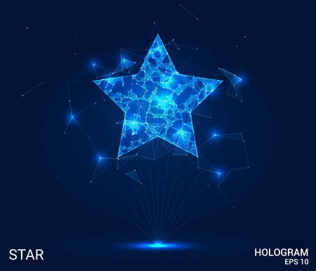 The star hologram. A star made up of polygons, triangles, points, and lines. The star is a low-poly compound structure. The technology concept
