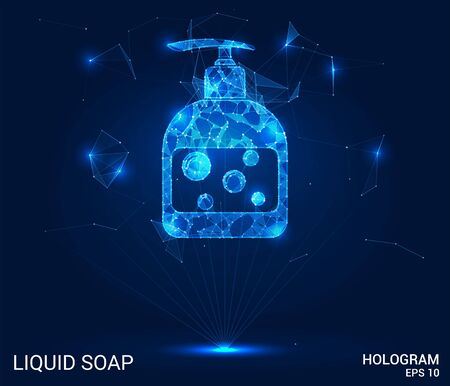 Hologram soap. Liquid soap made of polygons, triangles of points and lines. Hand wash is a low-poly joint structure. The technology concept