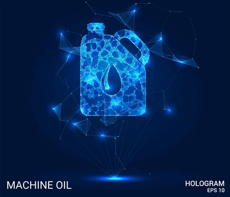 Hologram engine oil. A can of oil made of polygons, triangles of points and lines. Engine oil is a low-poly compound structure. The technology concept Illustration