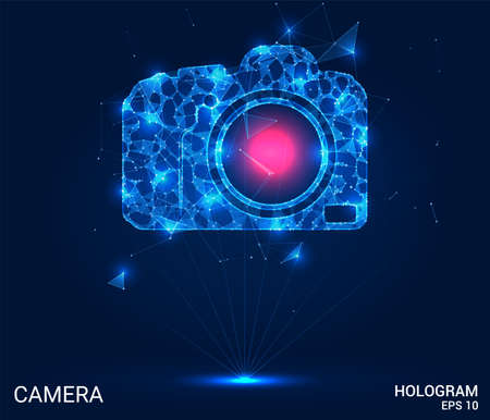 The hologram camera. A camera made up of polygons, triangles, points, and lines. The camera has a low-poly connection structure. The technology concept