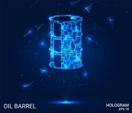 Hologram of a barrel of oil. Oil is a barrel of polygons, triangles of points, and lines. A barrel of oil if the structure of the compound. The technology concept