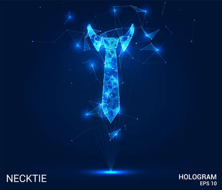 The necktie hologram. A Necktie of polygons, triangles, points, and lines. Necktie is a low poly compound structure. The technology concept 矢量图像