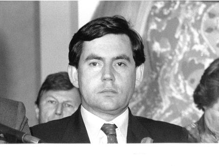 scottish parliament: London, England -May 24, 1990 - Gordon Brown, British Prime Minister, holds a press conference
